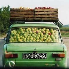auto voll mit äpfel