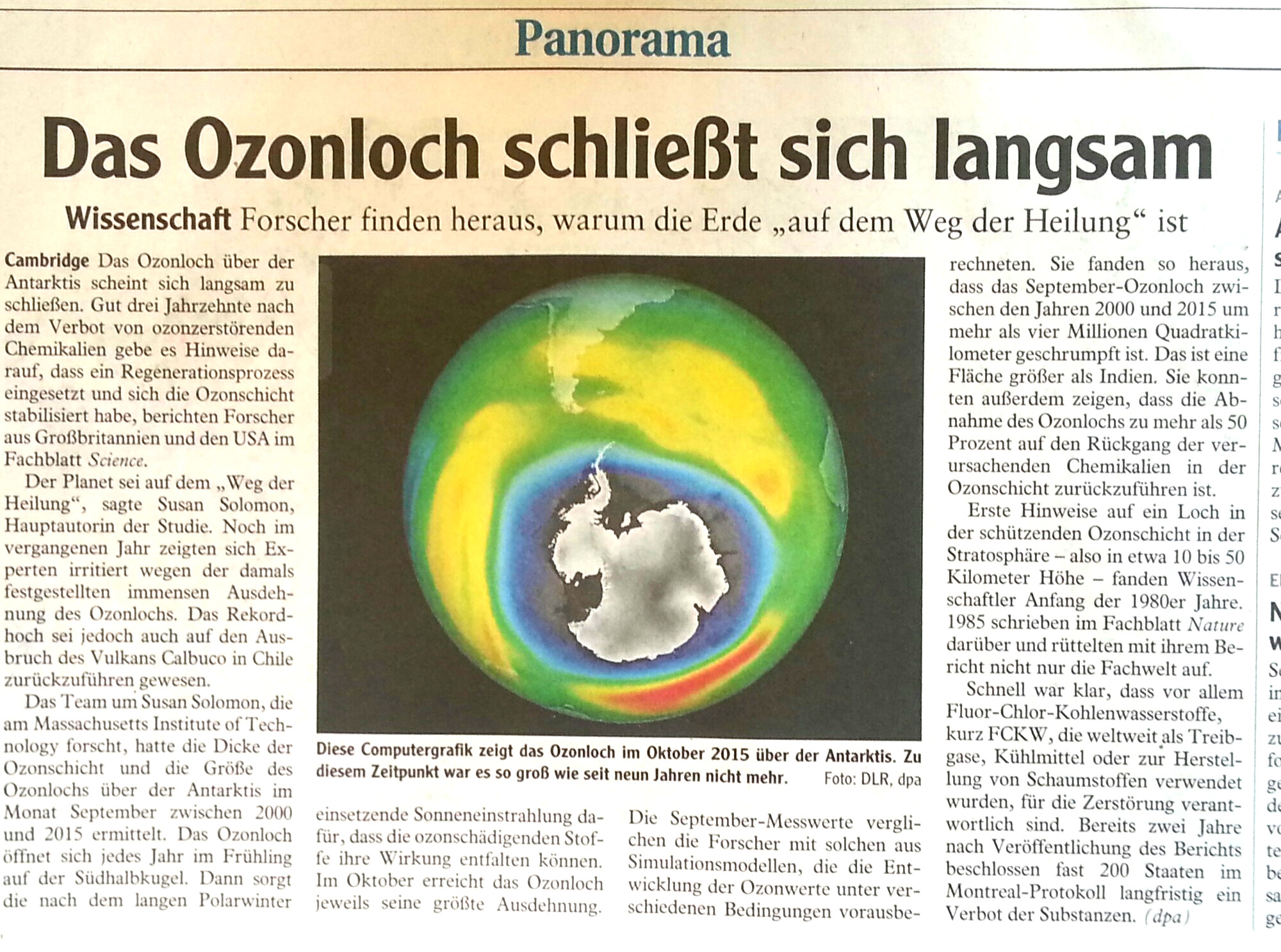 2016.06 - Ozonloch schließt sich langsam - 30 Jahre seit FCKW Verbot - Wisschaftler finden heraus warum die Erde auf dem Wege der Heilung ist