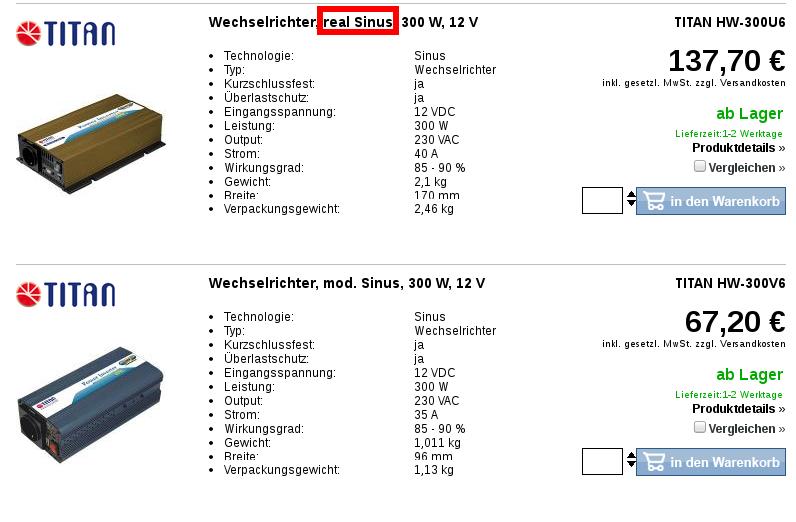 modified sinus vs real sinus 12v 230v transormator wechselrichter sinus wechselrichter spannungswandler