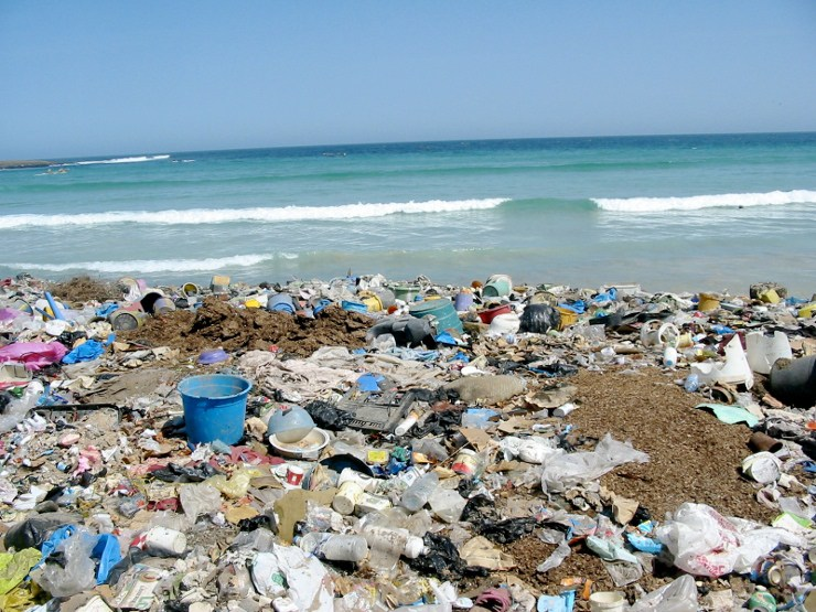 plastic foil in ocean garbage-ocean