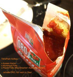 Aluminium kommt nicht in DIREKTEN Kontakt mit dem Nahrungsmittel, aber kann es durch die Plastik Folie?